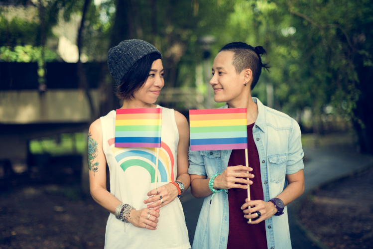 LGBT Lesbian Couple Showing pride support